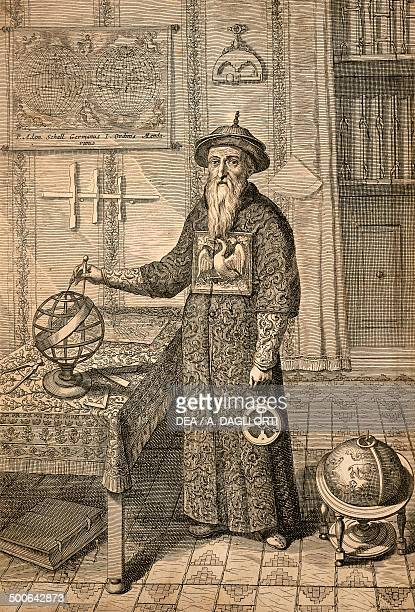 The Jesuit Johann Adam Schall von Bell predecessor of Ferdinand Verbiest astronomer at the court of the Ming Dynasty in Nanjing wearing Mandarin...