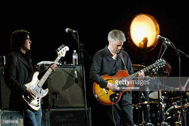 The Jesus and Mary Chain Mark Crozer Phil King and Loz Colbert perform as part of the Coachella Valley Music and Arts Festival at the Empire Polo...