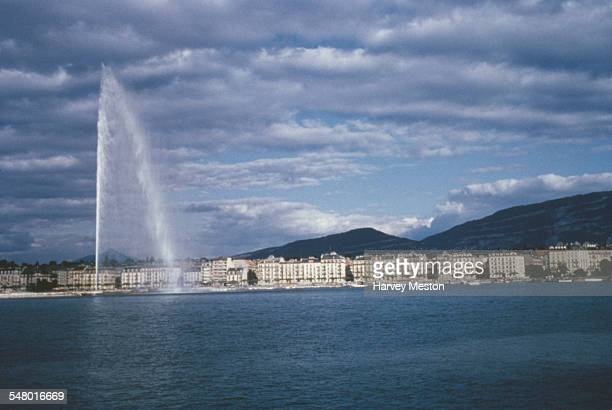 The Jet d'Eau, a large fountain in Geneva, Switzerland, as seen from Lake Geneva, circa 1965.