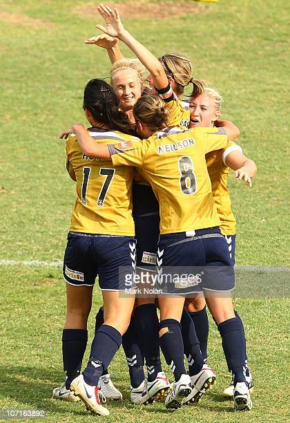 The Jets celebrate the second goal of Tara Andrews during the round four W-League match between Sydney FC and the Newcastle Jets at Campbelltown...
