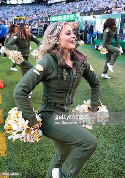 The Jets 'Flight Crew' Cheerleaders participate in the team's 'Salute to Service' week honoring current and former armed forces personnel during the...