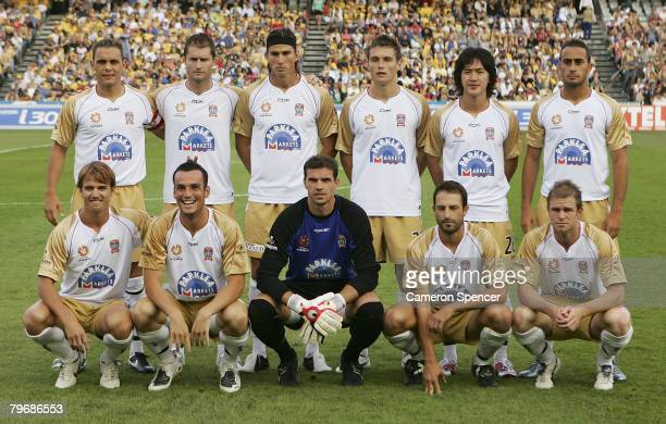 The Jets pose for a team shot prior to the A-League Major Semi Final second leg match between the Central Coast Mariners and the Newcastle Jets held...