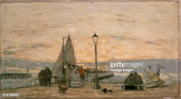 The Jetty at Trouville Sunset 1862 Artist Eugene Louis Boudin