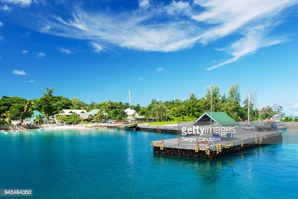 the jetty of la digue - la digue island stock pictures, royalty-free photos & images