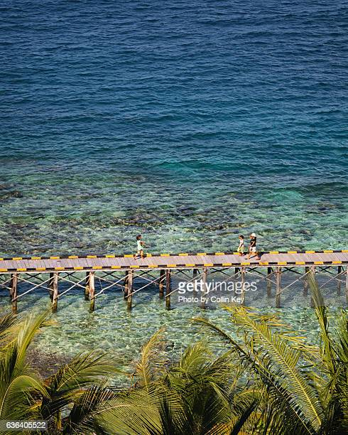 the jetty on the coral reef - collin key stock-fotos und bilder