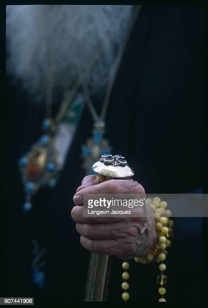 The jewelled staff and rosary beads of a Russian Orthodox priest are part of the scene during the opening ceremony of the Church's millennium...