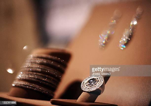 The jewelry US First Lady Michelle Obama wore during the inauguration is displayed at the Smithsonian's National Museum of American History in...