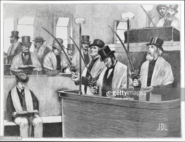 The Jewish Feast of Tabernacles at a North London synagogue - The Reader taking the palm branch. From The Graphic Nov 2nd, 1872.
