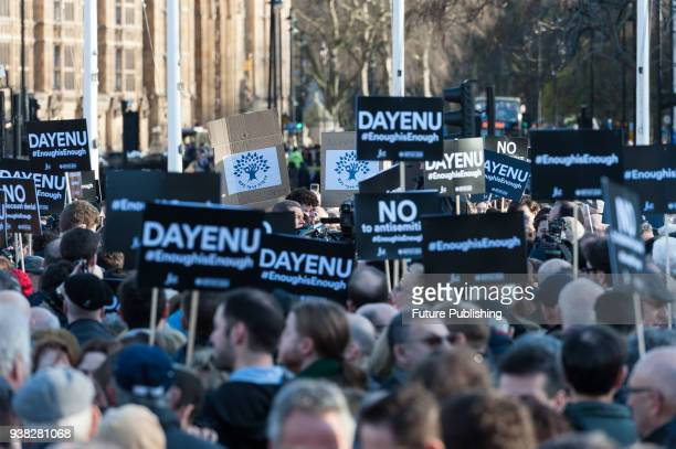 The Jewish Leadership Council and the Board of Deputies of British Jews stage a protest in Parliament Square against antisemitism in the Labour...