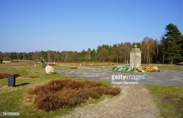 The Jewish Memorial at the former BergenBelsen German Nazi concentration camp in Lower Saxony Germany 2014 The site is now a museum and memorial