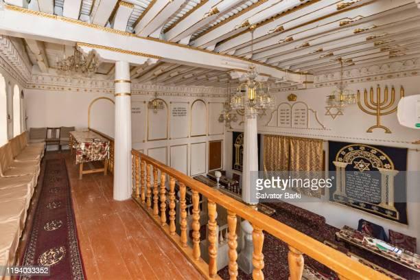 the jewish synagogue, bukhara - menorah stock pictures, royalty-free photos & images