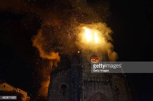 The Jiangbei Cathedral is on fire on July 28 2014 in Ningbo Zhejiang Province of China The 500 square meters burnt Christianity church is a state...