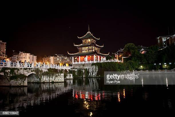 The Jiaxiu Pavilion along the Naming River in central Guiyang, Guizhou, China.