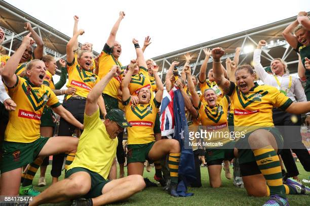 The Jillaroos celebrate winning the 2017 Rugby League Women's World Cup Final between Australia and New Zealand at Suncorp Stadium on December 2 2017...