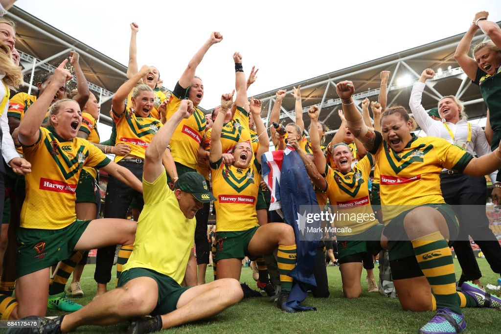 The Jillaroos celebrate winning the 2017 Rugby League Women's World Cup Final between Australia and New Zealand at Suncorp Stadium on December 2, 2017 in Brisbane, Australia.