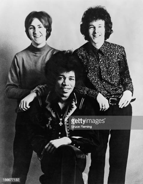 The Jimi Hendrix Experience London Spring 1967 Left to right drummer Mitch Mitchell guitarist Jimi Hendrix and bassist Noel Redding