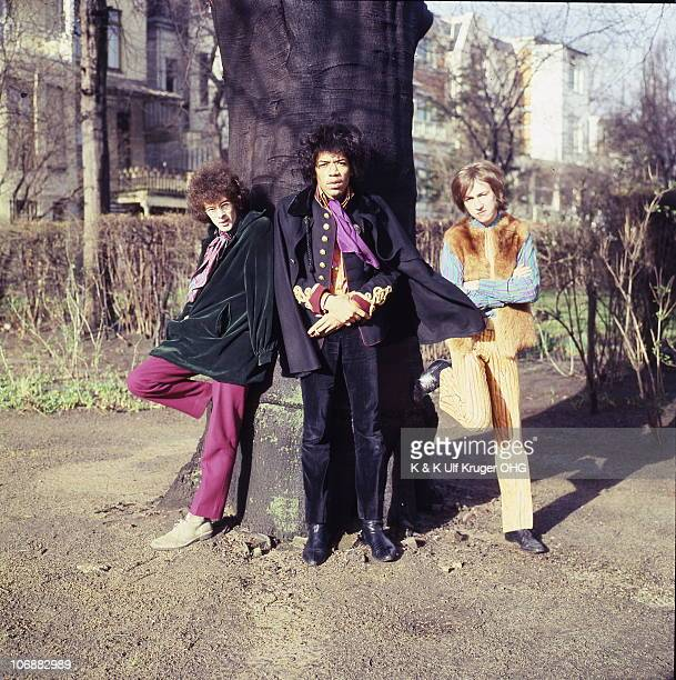 The Jimi Hendrix Experience Noel Redding Jimi Hendrix and Mitch Mitchell pose for a group portrait on 19th March 1967 in Hamburg Germany