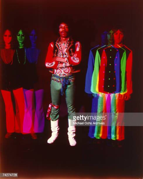 The Jimi Hendrix Experience pose for a psychedelically altered portrait in 1968 Noel Redding Jimi Hendrix Mitch Mitchell