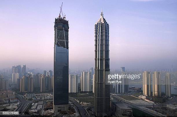 The Jin Mao Tower and the Shanghai World Financial Center in Shanghai China The Shanghai World Financial Center is set when it opens in 2008 to...
