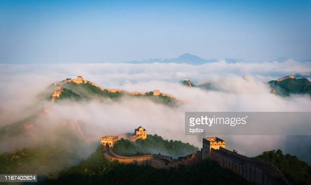 the jingshanling great wall in the seas of clouds - great wall of china stock pictures, royalty-free photos & images