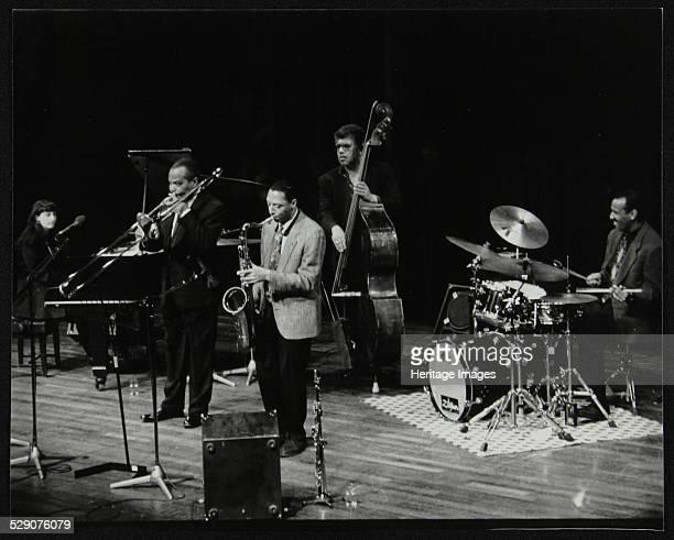 The JJ Johnson Quintet performing at the Hertfordshire Jazz Festival, St Albans Arena, 4 May 1993: Renee Rosnes , JJ Johnson , Ralph Moore , Rufus...