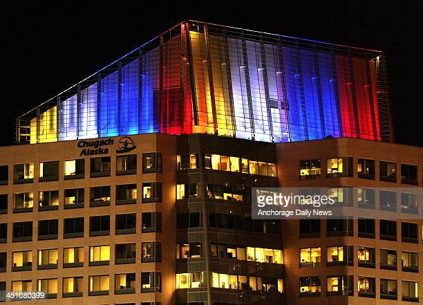 The JL Tower lights honor the Philippines by displaying the colors of blue red white and yellow of the country's national flag on Wednesday evening...