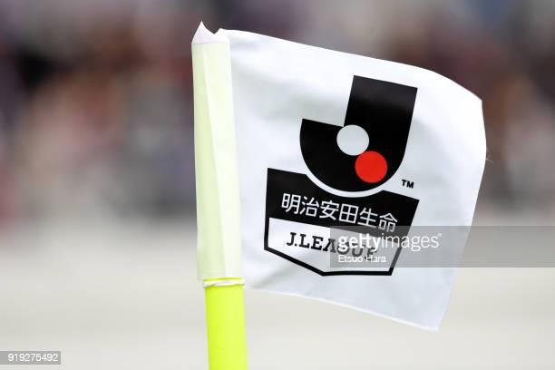 The JLeague flag is seen during the preseason friendly match between FC Tokyo and Yokohama FMarinos at Ajinomoto Stadium on February 17 2018 in Chofu...