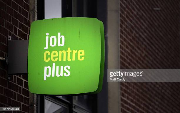 The Jobcentre Plus logo is seen displayed outside the employment office on January 18 2012 in Trowbridge England Figures released today show that the...