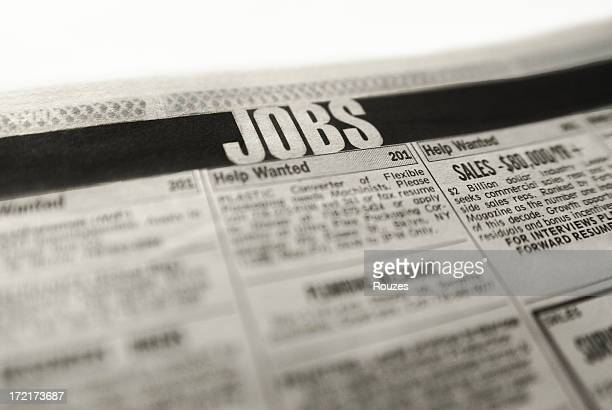 The jobs in the classified section of the newspaper