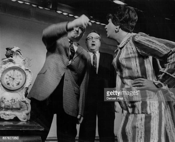 The Job's Not to His Liking Lauren Cahill as a union bass hired to run a clock factory shakes his first angrily at his boss Marion Neet as Ted...