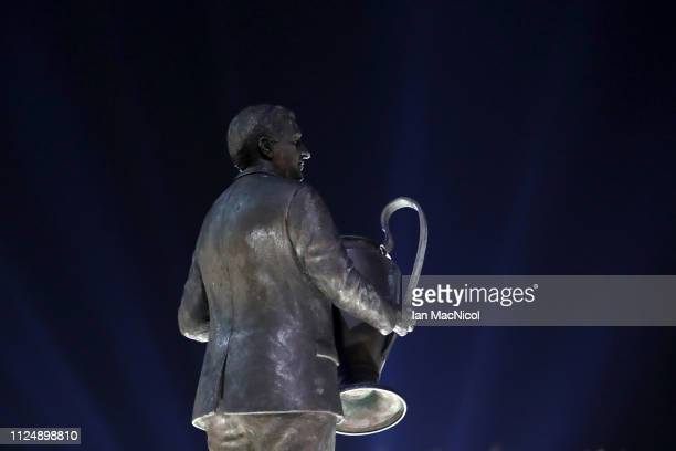 The Jock Stein Statue is seen outside the stadium ahead of the UEFA Europa League Round of 32 First Leg match between Celtic and Valencia at Celtic...