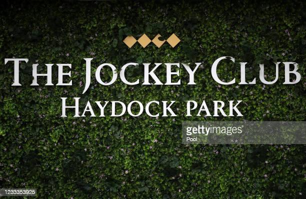 The Jockey Club branding at Haydock Park Racecourse on June 9, 2021 in Newton-le-Willows, England.