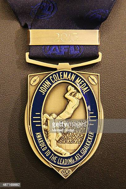 The John Coleman medal is seen during the 2015 AFL Finals Series launch at Federation Square on September 7 2015 in Melbourne Australia