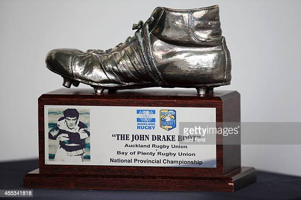 The John Drake Boot trophy is seen before the ITM Cup match between Bay of Plenty and Auckland on September 13 2014 in Rotorua New Zealand