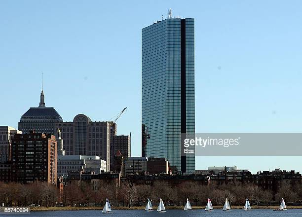 The John Hancock Tower sits in the heart of the Back Bay neighborhood on March 31 2009 in Boston Massachusetts The building designed by IM Pei was...