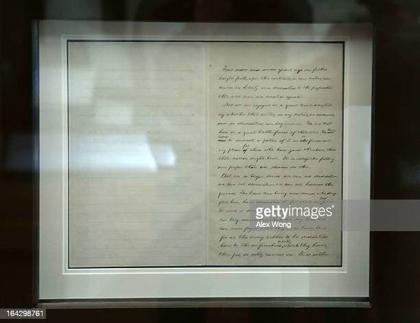 The John Hay copy of the Gettysburg Address is displayed for six weeks in the Civil War in America exhibition at the Library of Congress March 22...