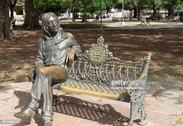 The John Lennon bronze statue in the Cuban capital city The art piece was created by Cuban artist José Villa Soberón The glasses have been stolen or...