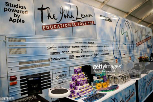 The John Lennon Educational Tour Bus at the 2008 International Consumer Electronics Show at the Las Vegas Convention Center January 6, 2008 in Las...