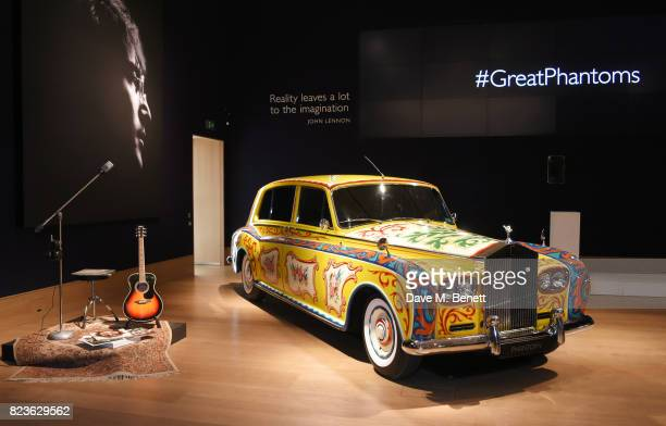The John Lennon Rolls-Royce Phantom is displayed at the world premiere of the 'The Great Eight Phantoms - A Rolls-Royce Exhibition' at Bonhams on...