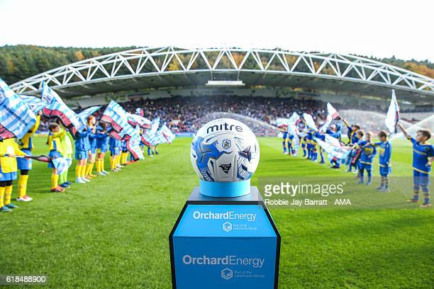 The John Smiths Stadium home stadium of Huddersfield Town prior to kick off with the Mitre Huddersfield Town match ball on a plinth during the Sky...