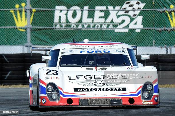 The Johnnie Walker/FXI/UBS Ford Riley driven by Zak Brown Mark Patterson Mark Blundell Martin Brundle drives duing practice for the Rolex 24 at...