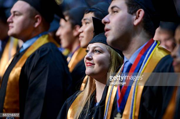 The Johns Hopkins University Class of 2016 attends the commencement ceremony at the Royal Farms Arena on May 18 2016 in Baltimore Maryland