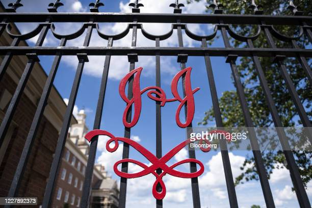 The Johnson & Johnson logo is displayed outside the company's headquarters in New Brunswick, New Jersey, U.S., on Saturday, Aug. 1, 2020. Johnson &...