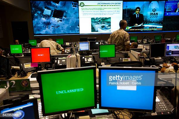 The Joint Operations Center , from where all current conflicts are commanded at the United States Central Command . Computer screens are shut down...