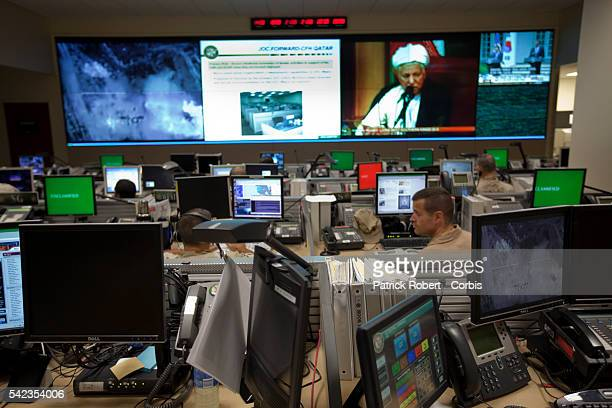 The Joint Operations Center from where all current conflicts are commanded at the United States Central Command Computer screens are shut down for...