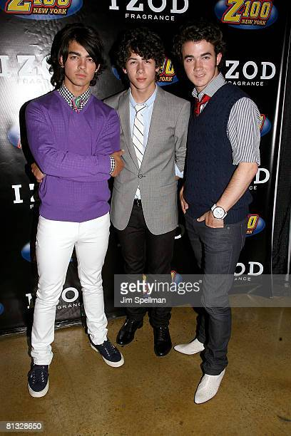 The Jonas Brothers attend the Z100s Zootopia 2008 presented by IZOD FRAGRANCE Press Room at the IZOD Center on May 17 2008 in East Rutherford New...