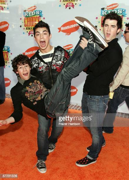 The Jonas Brothers Kevin Nicholas and Joseph arrive at the 19th Annual Kid's Choice Awards held at UCLA's Pauley Pavilion on April 1 2006 in Westwood...