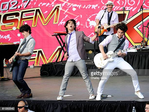 The Jonas Brothers perform during the KIISFM's 2008 Wango Tango concert held at the Verizon Wireless Amphitheater on May 10 2008 in Irvine California