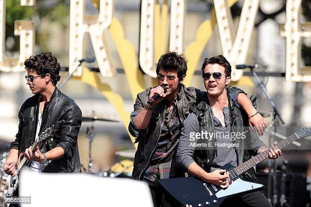 The Jonas Brothers perform live at the Grove to kick off the summer concert series on May 15 2010 in Los Angeles California