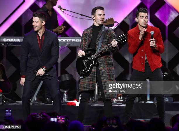 The Jonas Brothers perform onstage during the iHeartRadio's Z100 Jingle Ball 2019 at Madison Square Garden on December 13, 2019 in New York City.